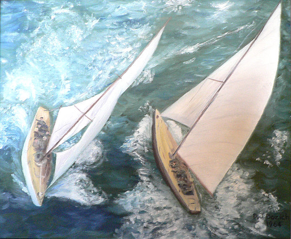 Sailing Painting - America by Dan Bozich