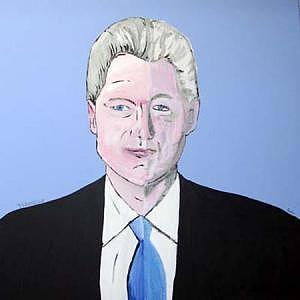 Bill Clinton Painting - American Blue by Sardine and Tobleroni The Monkey in the Box