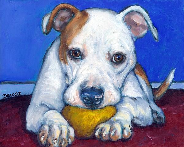 American Bulldog Painting - American Bulldog With Yellow Ball by Dottie Dracos