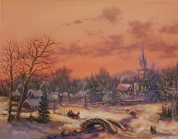 Christmas Scene Painting - American Classic by Tom Shropshire