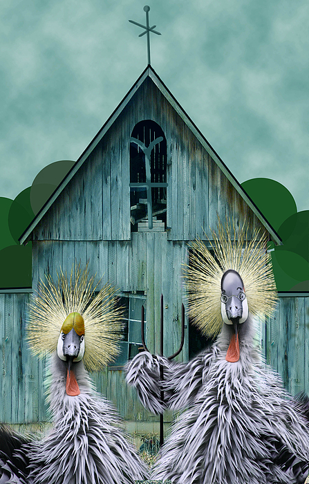 Chickens Digital Art - American Gothic Revisisted  by Lois Mountz