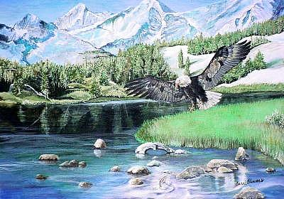 Mountain Painting - American Hunter by Terri Kilpatrick