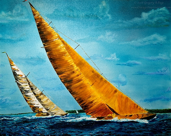 America Painting - Americas Cup Sailboat Race by Gregory Allen Page