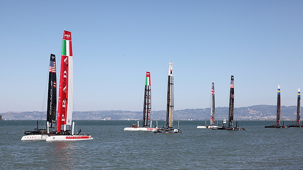San Francisco Photograph - Americas Cup Sailboats In San Francisco - 5d18205 by Wingsdomain Art and Photography