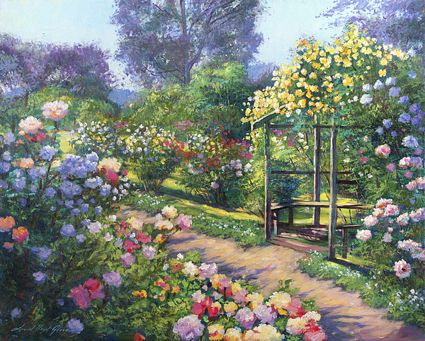An Evening Rose Garden Painting By David Lloyd Glover