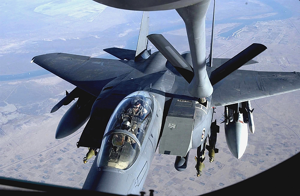 Horizontal Photograph - An F-15e Strike Eagle Refuels Over Iraq by Stocktrek Images