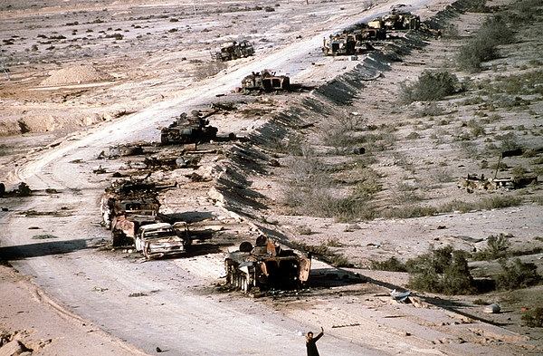 History Photograph - An Iraqi Armored Column Destroyed by Everett