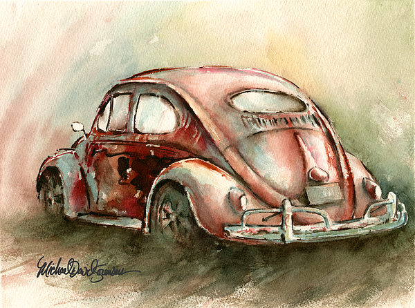Vw Painting - An Oval Window Bug In Deep Red by Michael David Sorensen