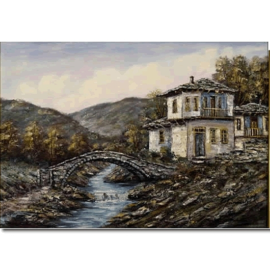 Medium Painting - Anastasiades Anastastasios Bridge Unframed No 11 by Anastasiades Anastastasios