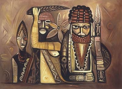 Ancestors Painting - Ancestral Images II by Joe Amenechi