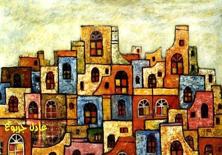Abstract Painting Painting - Ancient Arabic City 3 by Adel Jarbou