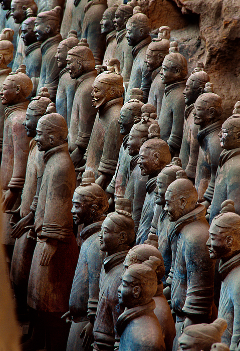 People's Republic Of China Photograph - Ancient Soldier Statues Stand At Front by O. Louis Mazzatenta