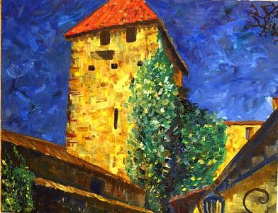 Ancient Tower In Steinonrein Painting by Jenia Tyshchenko