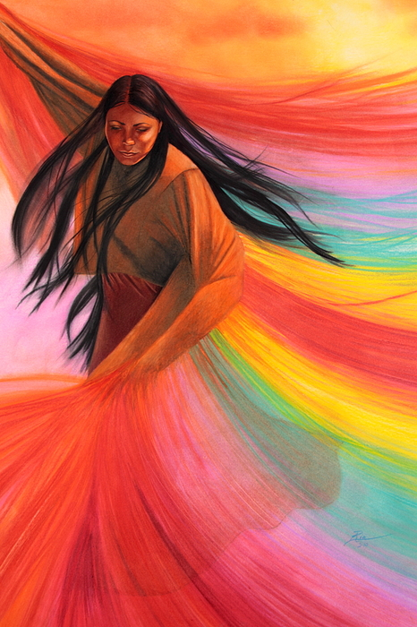 Native American Woman Dancing Painting - And So We Dance by Maria Hathaway Spencer