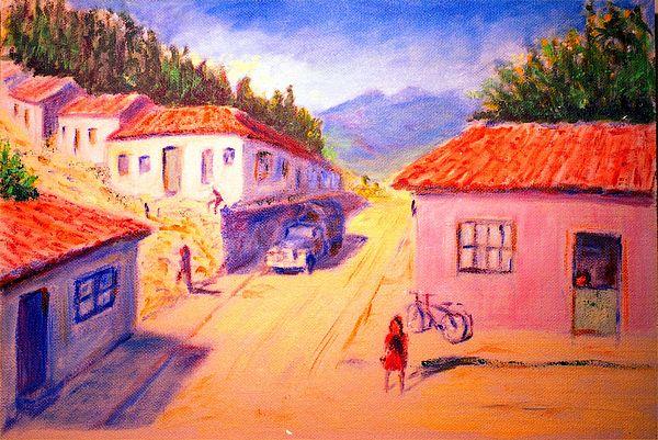 Oil Painting - Andean Village by Horacio Prada