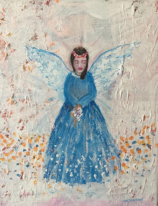 Angel Painting - Angel In Blue by Jun Jamosmos