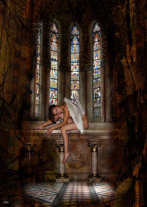Dragon Photograph - Angel In Church 594b by The Hybryds