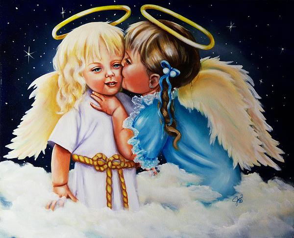 Angels Painting - Angel Kiss by Joni McPherson