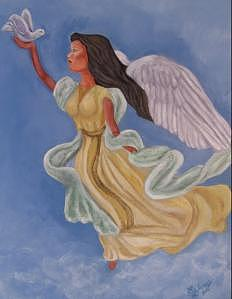 Angel Painting - Angel Of Peace by Sandra Winiasz
