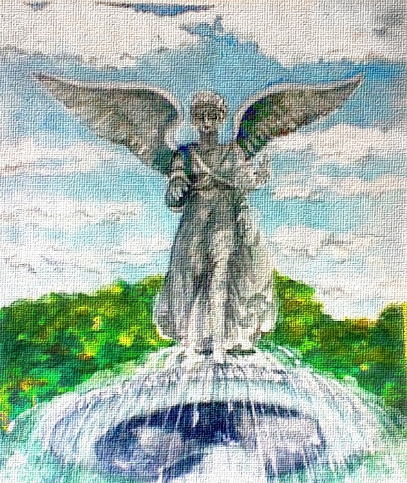 Angel Painting - Angel Of The Waters - Bethesda Angel Central Park Nyc by Elle Smith Fagan