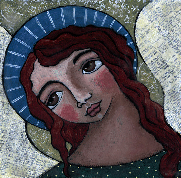 Angel Painting - Angel With Blue Halo by Julie-ann Bowden