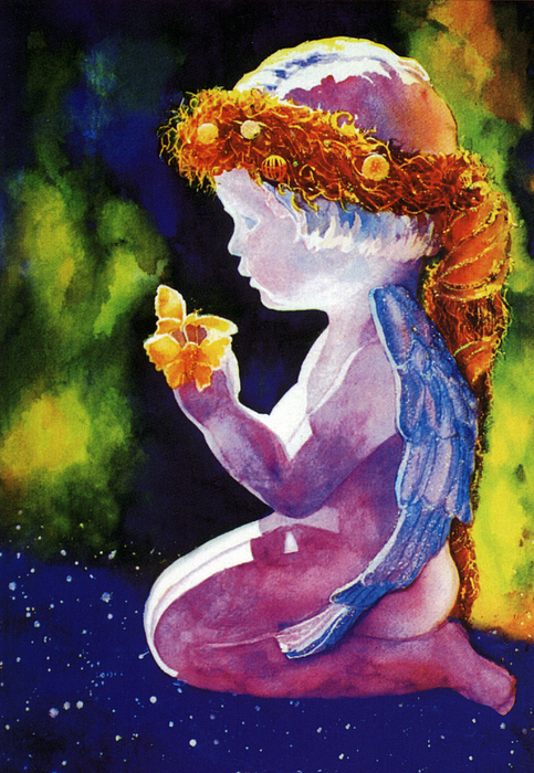 Watercolor Paintings Painting - Angel With Butterflies by Estela Robles