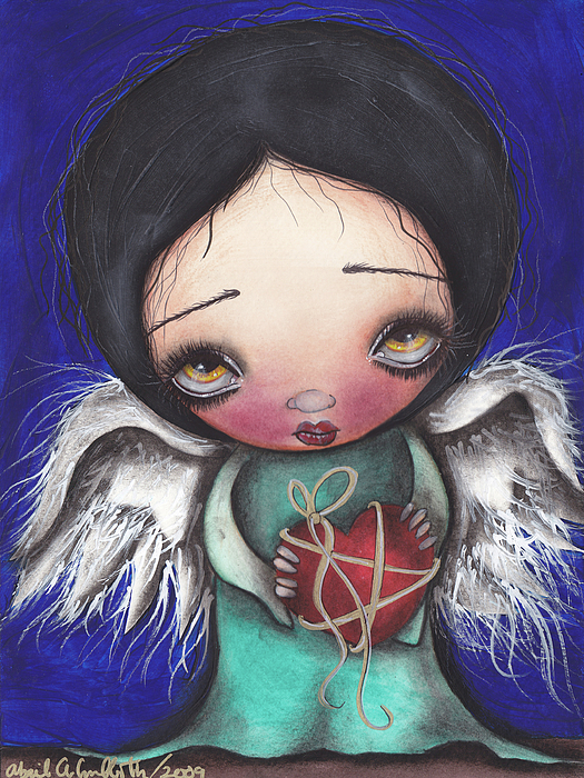 Angel Painting - Angel With Heart by  Abril Andrade Griffith