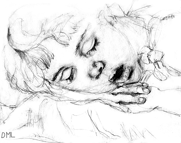 Sleeping Drawing - Angela by Diana Ludwig