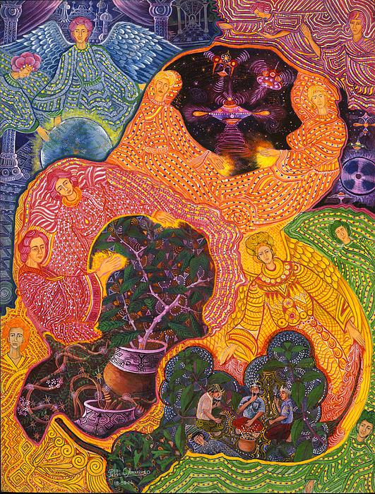 Pablo Amaringo Painting - Angeles Avatares by Pablo Amaringo