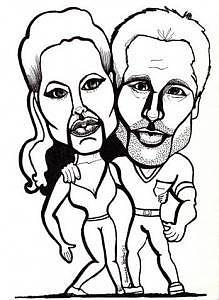 Angelina Jolie Drawing - Angelina Jolie And  Brad Pitt by Suzanne Berton
