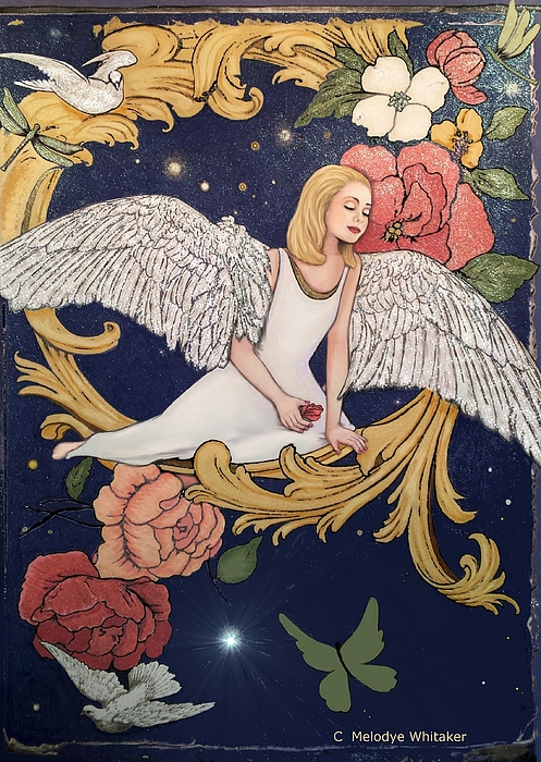 Adult Coloring Book Mixed Media - Angels Dream by Melodye Whitaker