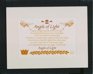 Angels Of Light On White Mat Frame  by Melvin  Dudley