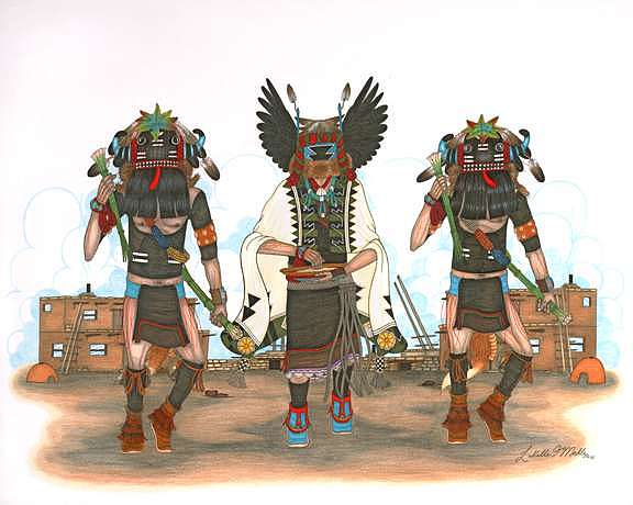 Angwusnasomtaka Kachina-crow Mother And Hu Kachinas Mixed Media by Lavelle Mahle