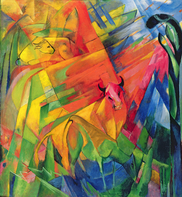 Animals Painting - Animals In A Landscape by Franz Marc