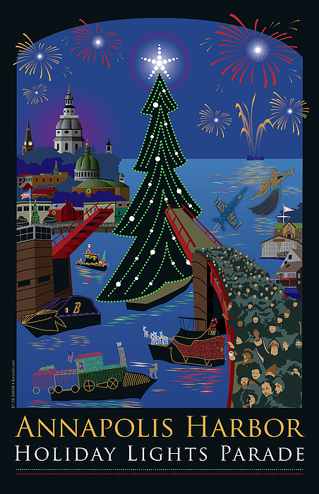 Annapolis Digital Art - Annapolis Holiday Lights Parade by Joe Barsin