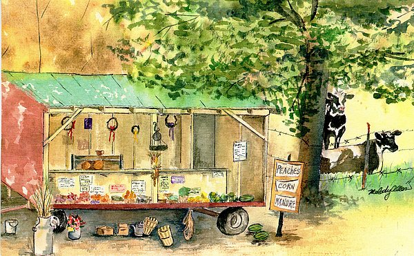 Vegetables Painting - Annies Farmstand by Melody Allen