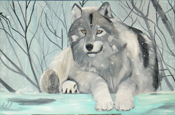 Wolf Painting - Another Beautiful Day by Donald Schrier