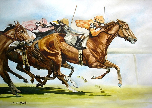 Horse Painting - another Derby Winner by Sabrina Siga