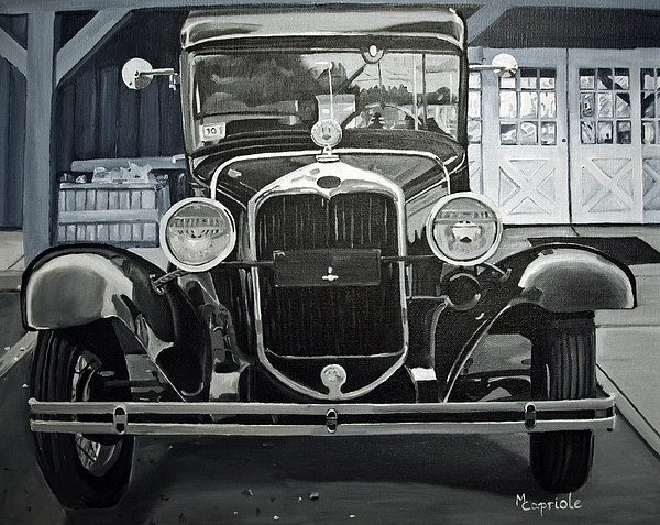 Antique Car Painting - Antique At Manns by Mary Capriole