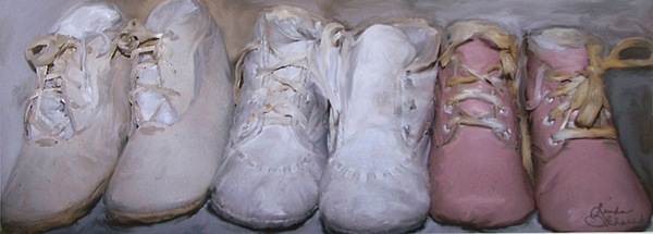 Baby Painting - Antique Baby Shoes by Linda Scharck