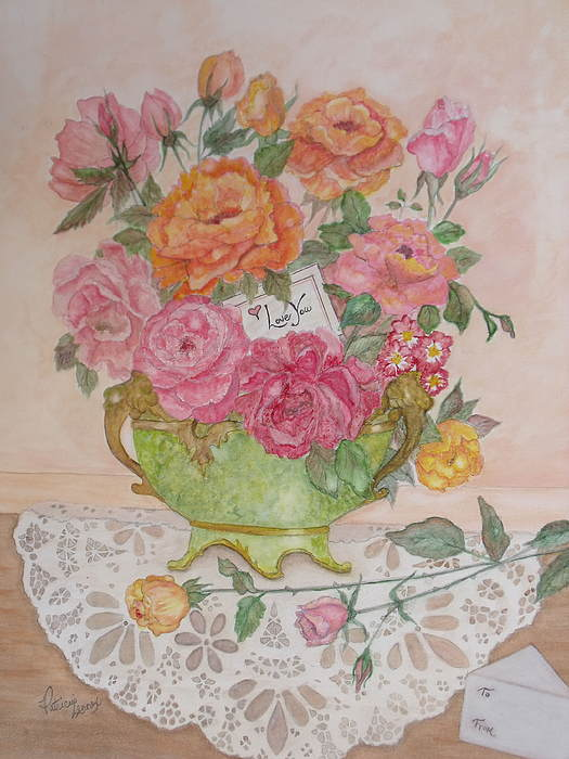 Roses Painting - Antique Bowl With Roses by Patti Lennox