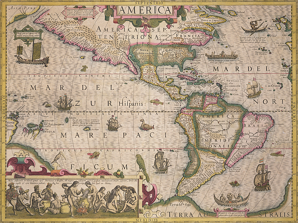 Maps Drawing - Antique Map Of America by Jodocus Hondius