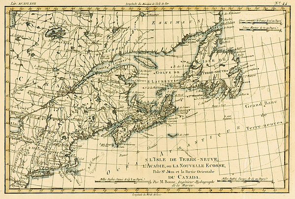 Canada Drawing - Antique Map Of Eastern Canada by Guillaume Raynal