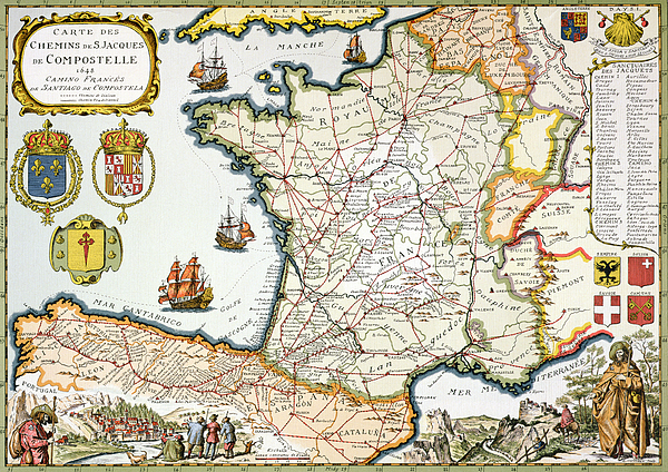 Maps Drawing - Antique Map Of France by French School