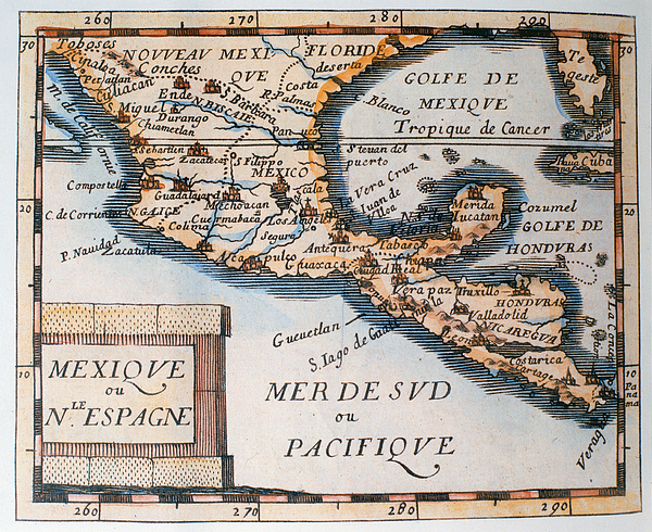 Map Painting - Antique Map Of Mexico Or New Spain by French School