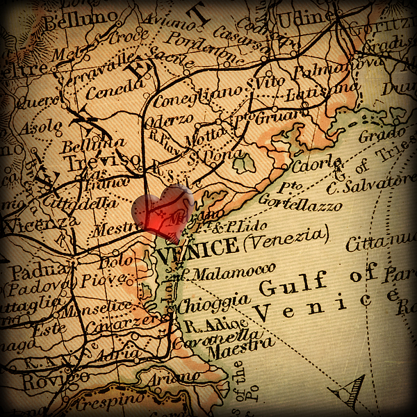 Venice Photograph - Antique Map With A Heart Over The City Of Venice In Italy by ELITE IMAGE photography By Chad McDermott