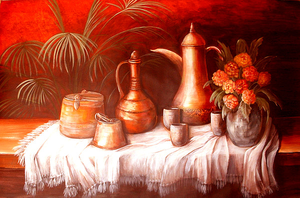 Still Life Painting - Antique Moroccan Pots Still Life by Patricia Rachidi