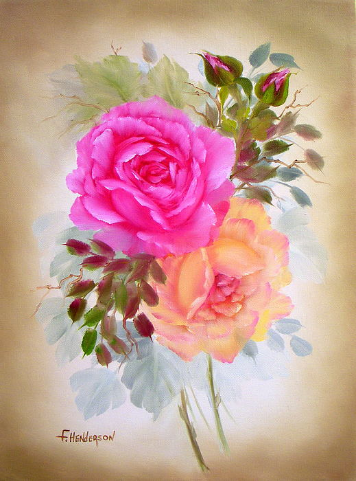 Vintage Paintings Of Women Antique Roses Painting...
