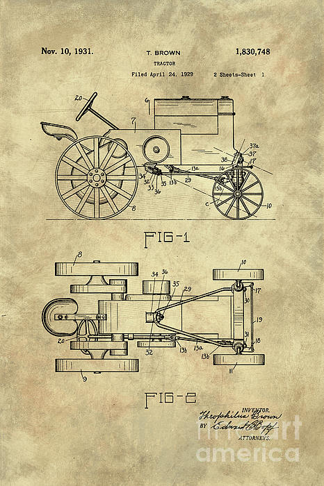 antique tractor blueprint patent drawing plan from 1929