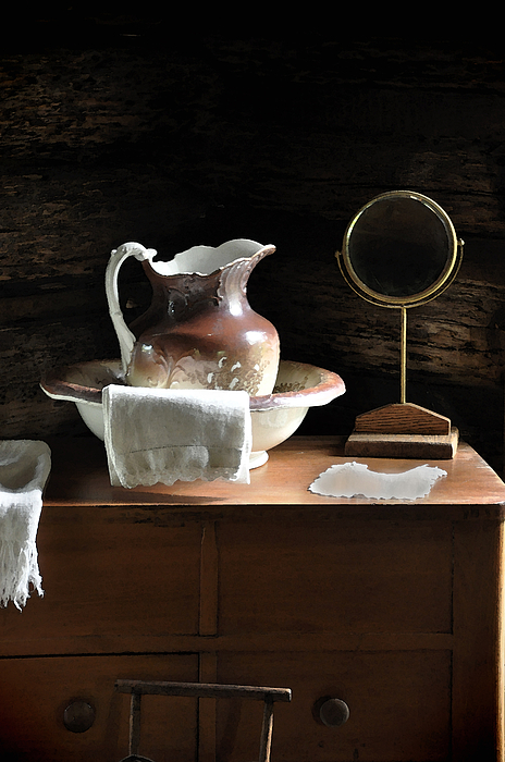 Old Carafe Photograph - Antique Water Pitcher On Bureau by Rebecca Brittain